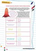 Verbal reasoning worksheet: Number relationships practice