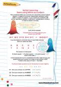 Verbal reasoning worksheet: Sums using letters as numbers