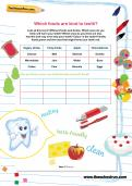 Which foods are kind to teeth worksheet