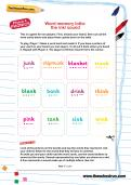 Word memory lotto: the /nk/ sound worksheet
