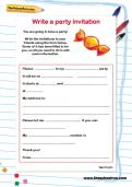 Write a party invitation worksheet