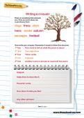 Writing a cinquain worksheet