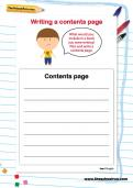 Writing a contents page worksheet