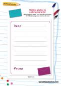 Writing a letter to a story character worksheet