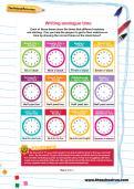 Writing analogue time football worksheet