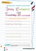 Writing letters: ascenders and descenders
