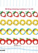 Writing missing numbers 1 to 20 worksheet