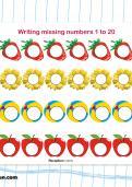 Writing missing numbers 1 to 20 worksheet