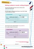Writing numbers in words: writing cheques worksheet