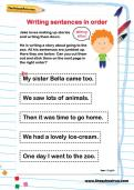 Writing sentences in order worksheet