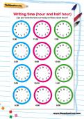 Writing time (hour and half hour) worksheet