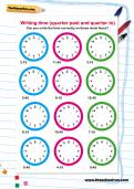 Writing time (quarter past and quarter to) worksheet