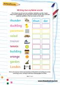 Writing two-syllable words worksheet
