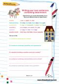 Writing your own sentences containing determiners worksheet