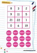 Year 1 mental maths bingo game