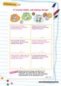 Y1 money maths worksheet