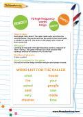 Y2 high frequency words bingo