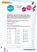 Y3 doubles Bingo worksheet