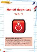 Year 1 mental maths test