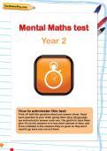 Year 2 mental maths test