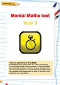 Year 3 mental maths test
