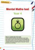 Year 4 mental maths test