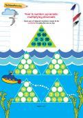 Year 5 number pyramids: multiplying decimals