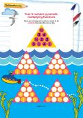 Year 5 number pyramids: multiplying fractions