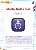 Year 6 mental maths test