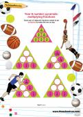 Year 6 number pyramids: multiplying fractions