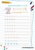 Handwriting worksheet: zig-zag monster letters