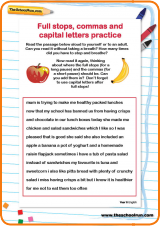 ... stops, commas and capital letters practice worksheet | TheSchoolRun
