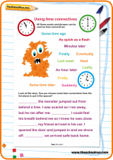 using time connectives worksheet theschoolrun. Black Bedroom Furniture Sets. Home Design Ideas
