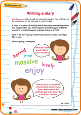 This worksheet encourages your child to write a diary entry using ...