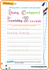 Handwriting practice worksheet: ascenders and descenders ...