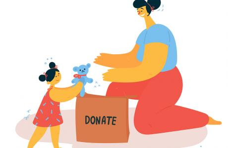 Children helping others with charity work