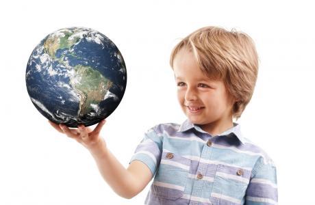 Child holding the world