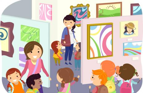 Children in an art gallery