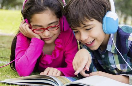 Children listening to an audiobook