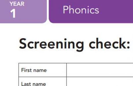 Year 1 phonics screening check exam
