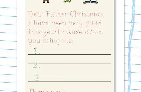 Father Christmas handwriting template