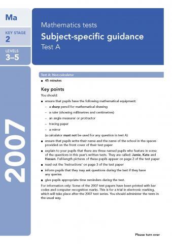 KS2 maths SATs 2007