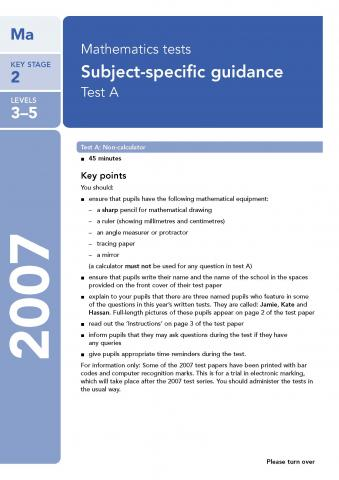 KS2 maths SATs 2007