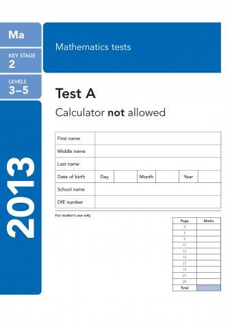 KS2 maths SATs 2013