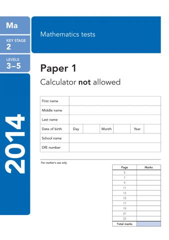 KS2 maths SATs 2014
