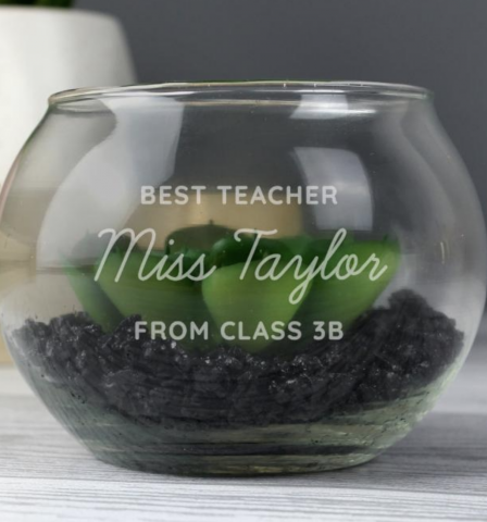 Personalised Best Teacher Glass Curly Mango Gifts