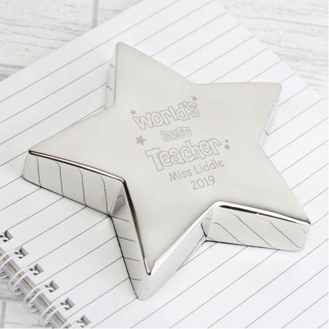 'Best Teacher' Star Paperweight
