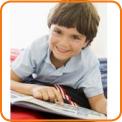 Boy reading comic book