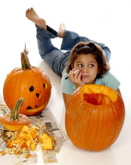 Girls with pumpkins