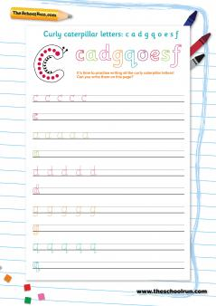 video letter formation curly caterpillar letter family